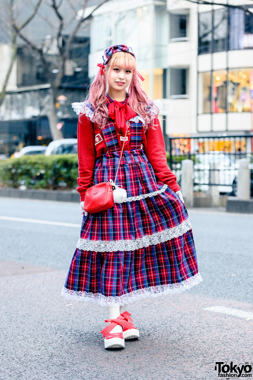 Pink House Harajuku Street Style w/ Twin Tails, Bow Headband, Handmade Plaid Jumper Skirt, Gucci Crossbody Bag & Tokyo Bopper