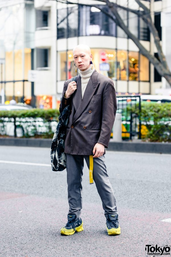 Harajuku Menswear Street Style w/ Shaved Head, Bull Horn Earrings, Balenciaga Watch, Ground Y Belt, Kenzo Blazer, Vivienne Westwood Trousers, Acid Wash Tote & Adidas x Raf Simons Ozweego Sneakers