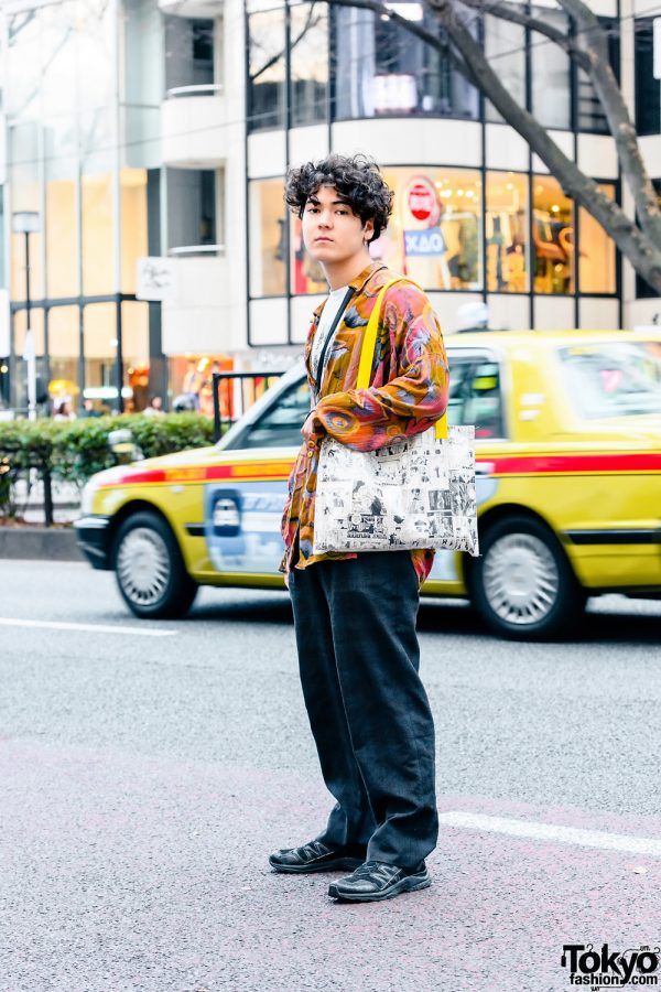 Vintage Casual Street Style w/ Undercover Shirt, Vintage Printed Long Sleeves, Vintage Plaid Pants, Salomon Shoes, Lucky Daikichi Manga Tote Bag, Leather Crossbody Bag & Judy Blume Earring