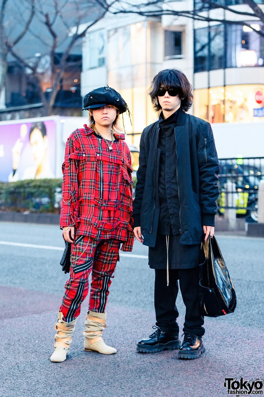 Tokyo Guys All Plaid x All Black Styles w/ Newsboy Cap, Ear Cuff, UNIQLO, Tiger of London Plaid Setup, Cyberdyne, ADYN Bomber Jacket, DRKSHDW Drop Crotch Pants, Eytys & Vivienne Westwood