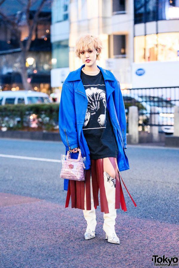 Harajuku Streetwear Personality in Knowhow Hoop Earrings, Vivienne Westwood, Vintage Jacket, UpAborn, MYOB, Toga Wide Fringe Skirt, Yello Handbag & Stiletto Boots