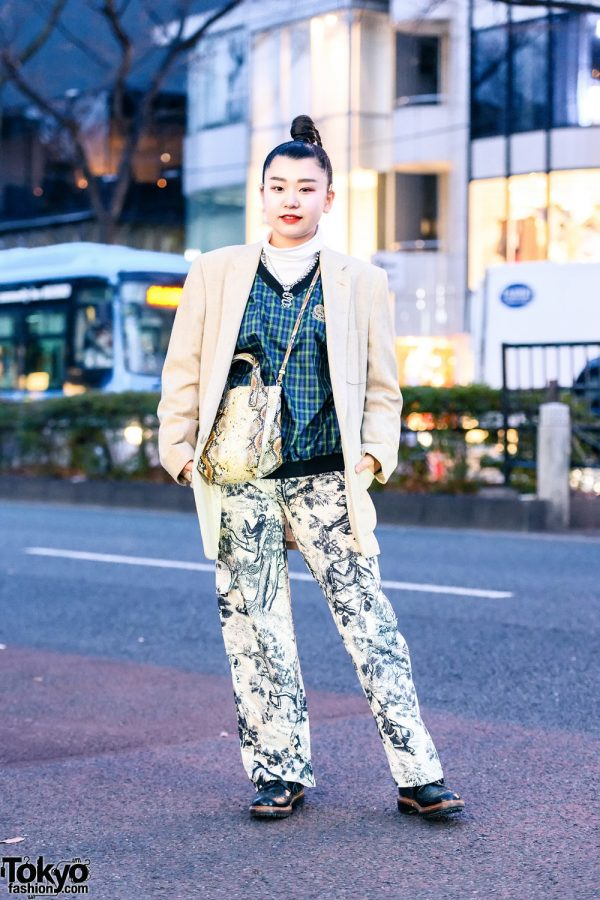 Resale Layered Street Style in Harajuku w/ Braided Bun, Never Mind the XU Dragon Necklace, Linen Blazer, Monochrome Print Pants, H&M Sling & Leather Wingtip Shoes