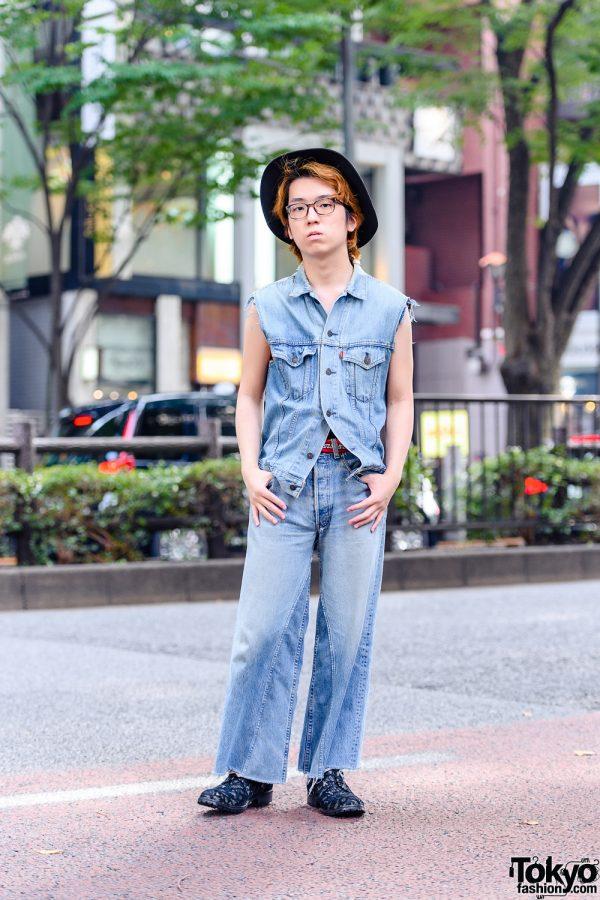 All Denim Menswear Style in Tokyo w/ Yohji Yamamoto S'yte Hat, Levi's Vest, B Side Jeans & Rynshu Lace Loafers