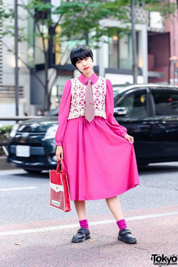 Harajuku Girl in Necktie Street Style w/ Fuchsia Dress, Rubycase Knit Vest, Lancel Paris, Plaid Lesson Bag & Dr. Martens Velcro Shoes