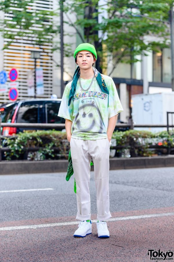 Harajuku Mens Street Style w/ Ribbed Beanie, Layered Necklaces, Kaikai Kiki x Billie Eilish, Vintage Cuffed Pants & Nike Sneakers