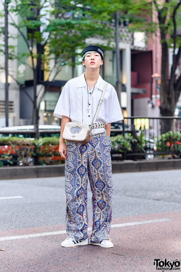Tokyo Street Style w/ Aqua Hair, Chameleon City Sailor Hat, BlackEyePatch, Paria Farzaneh Iranian Print Pants, Coach Dumbo Crossbody Bag & Adidas Sneakers