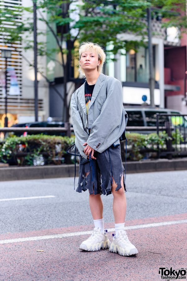 Deconstructed Tokyo Streetwear Style w/ Blonde Pageboy Cut, Comme des Garcons Cropped Blazer, Marilyn Manson Shirt, Distressed Trouser Shorts & Eytys Chunky Sneakers