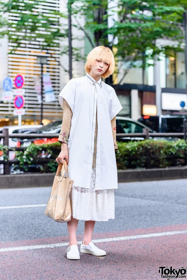 White & Beige Style w/ Acuod by Chanu Long Shirt, Resale Floral Tunic Top, Comme Des Garcons Lace Skirt, Comme Des Garcons Kraft Paper Tote Bag &Toga Virilis Slip-On Sneakers