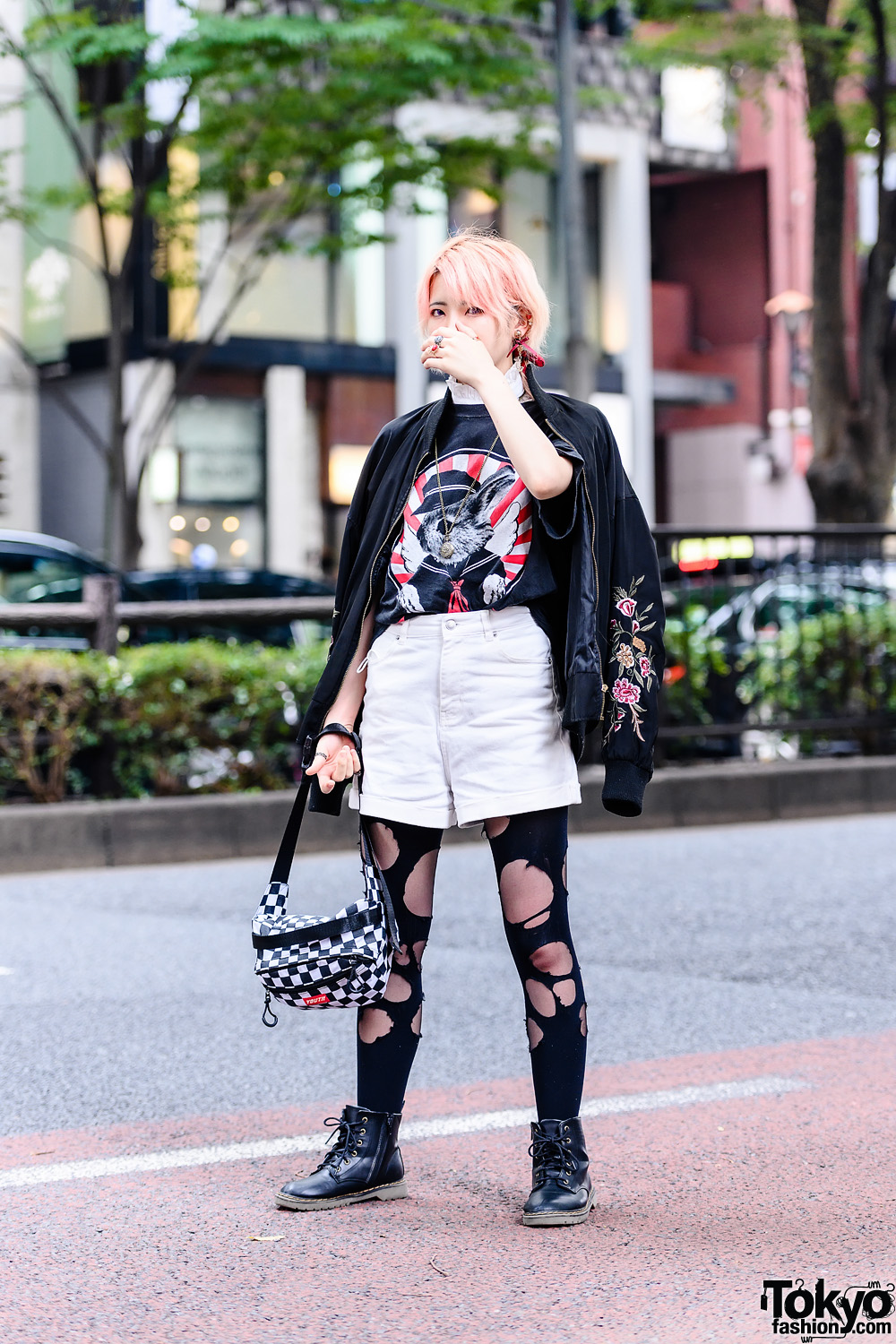 Monochrome Streetwear Style w/ Peach Hair, Flask Necklace, Bomber Jacket, Rabbit Shirt, Shorts Over Ripped Tights & Leather Boots