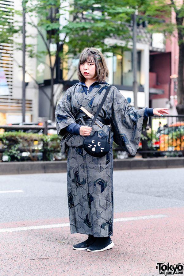Harajuku Kimono Street Style w/ Zippered Blue Hoodie, GU Belt, Cat Face Crossbody Bag, Skechers Slip-On Sneakers & Fan Accessory