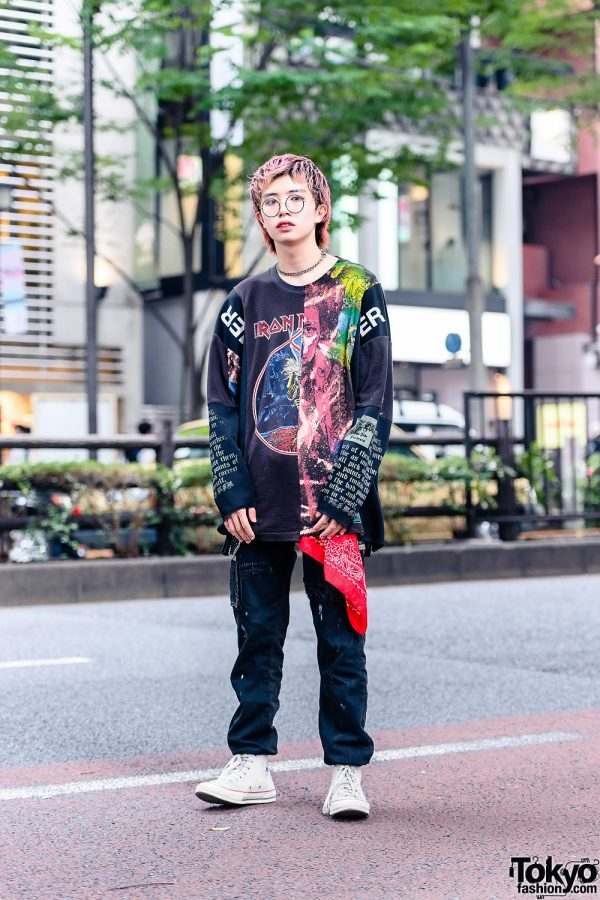 Cote Mer Tokyo Street Style w/ Pink Hair, Deconstructed Iron Maiden Sweatshirt, Silver Waist Chain & Converse Sneakers