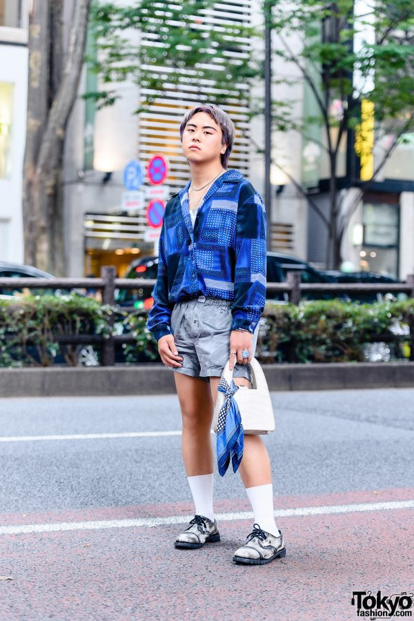 Tokyo Menswear Street Style w/ Two-Tone Hair, Abstract Print Shirt, Eytys Boxer Shorts, Cartier, The Four-Eyed, Zara & Getta Grip Leather Shoes