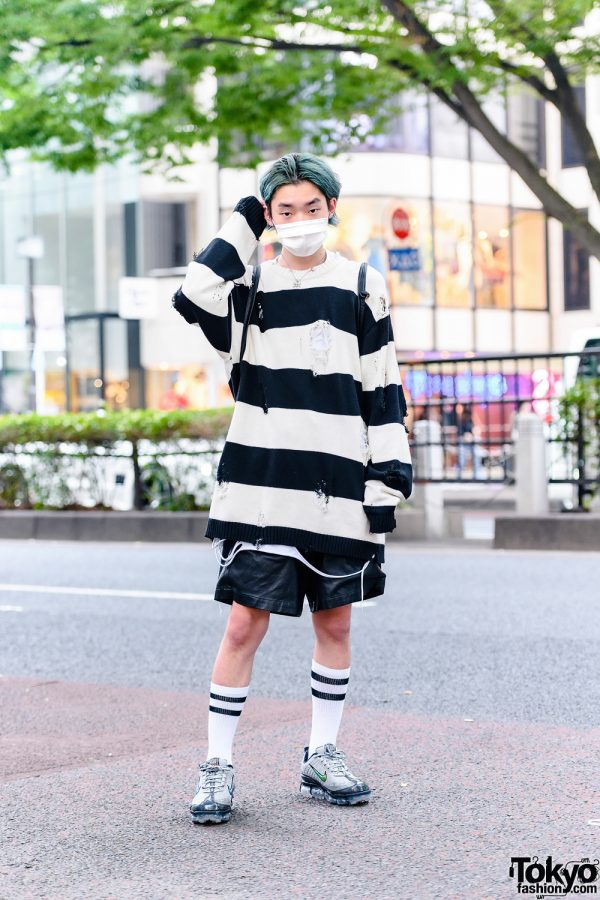 HarajukuFashion w/ Green Hair, Faith Tokyo Oversized Striped Sweater, Zara Leather Shorts, Nike VaporMax Sneakers, WEGO Leather Drawstring Backpack & Faith Tokyo Pendant Necklace
