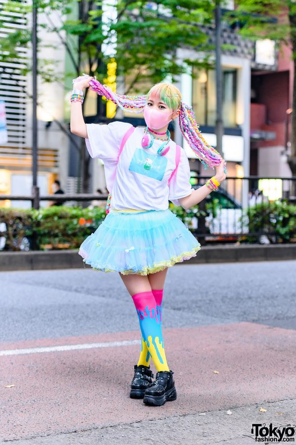 Tokyo Pastel Streetwear Style w/ Braided Yarn Hair Falls, Face Stickers, Donut Headphones, Sevens, Bodyline Tulle Skirt, Claire's Donut Backpack, Dripping Paint Thigh Socks, Kinji & Yosuke