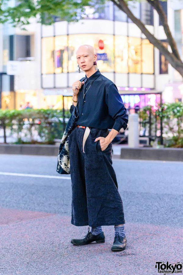 Japanese Menswear Street Style w/ Industrial Barbell Piercing, Hamsa Earrings, Balenciaga Watch, Y's, Yohji Yamamoto Textured Pants, Vintage Acid Wash Tote & Leather Shoes