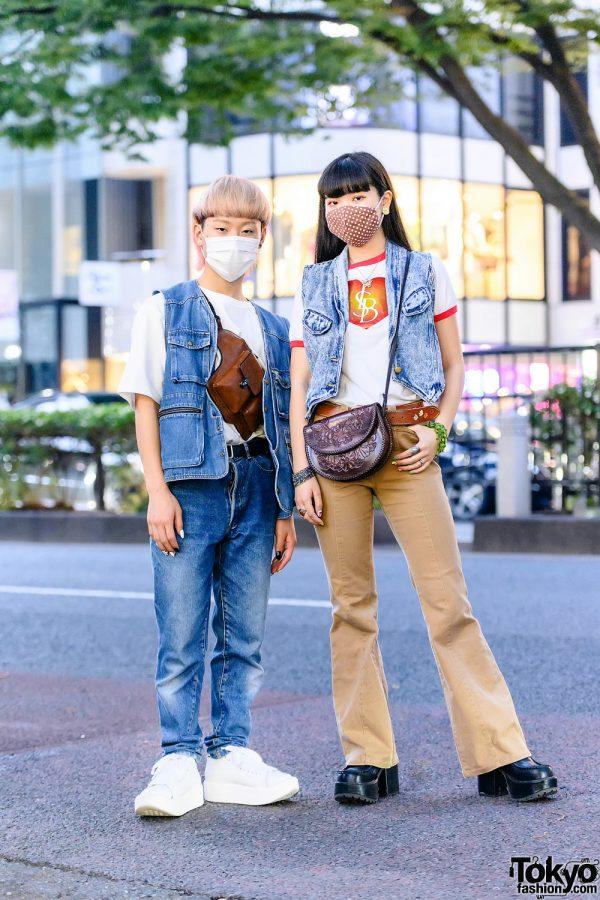 Tokyo Denim Street Styles w/ Blonde Bob, Polka Dot Mask, Utility Vest, Kilo Shop, Little Sunny Bite, Kenzo Pants, Tokyo Bopper, Gucci Bag, Dior, Shury, Yosuke & Vintage Fashion