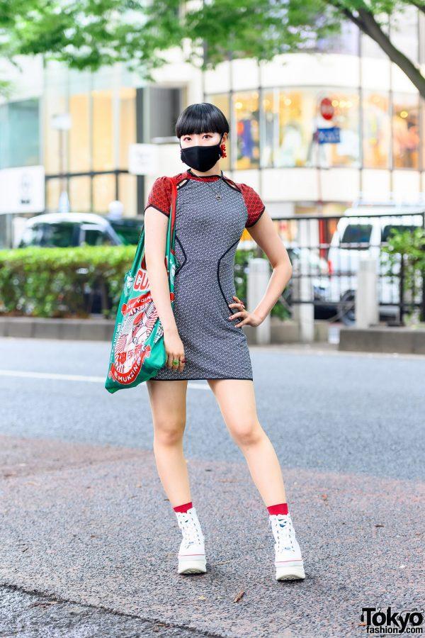 #f606 Japanese Pop Idol Street Style w/ Modern Bowl Cut, Lili by Seri Geometric Earrings, Lilien, Bed Mini Dress, Mukzin & Yosuke Platform High Tops