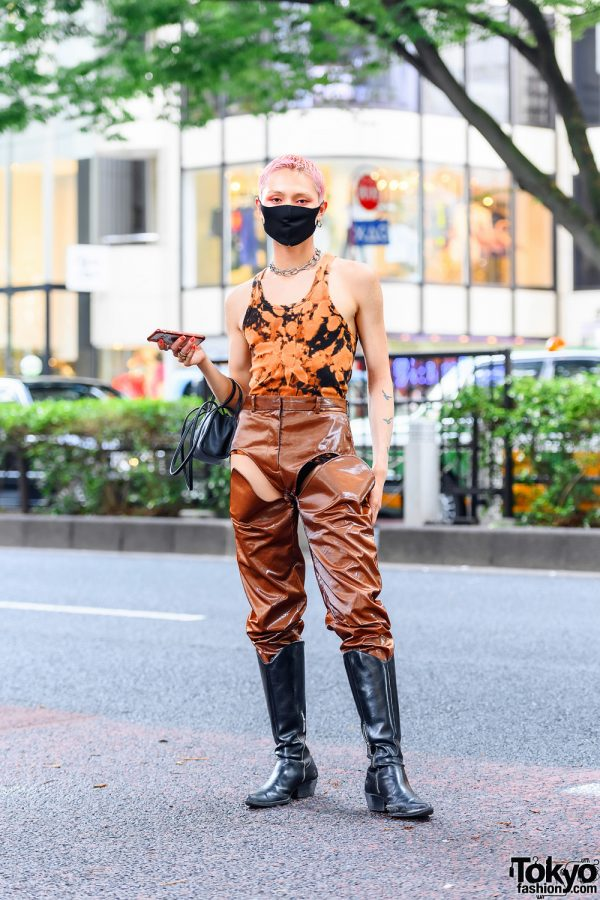 Y/Project Cutout Pants Japanese Male Model Style w/ Tie Dye Bodysuit, Telfar Bag, Vintage Tall Boots, Chain Choker