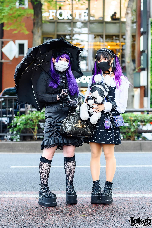 Harajuku Girls Street Goth Styles w/ Purple Hair, Teddy Bear, Morph8ne, Killstar, Vivienne Westwood, Never Mind the XU & Yosuke Caged Platforms