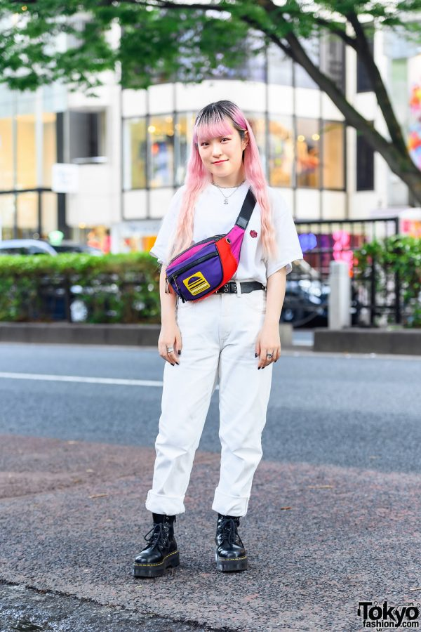 All White Casual Street Style w/ Pink Bangs Hairstyle, Jouetie Shirt, Chicago Pants, Dr. Martens Boots, Marc Jacobs Belt Bag & Jouetie Accessories