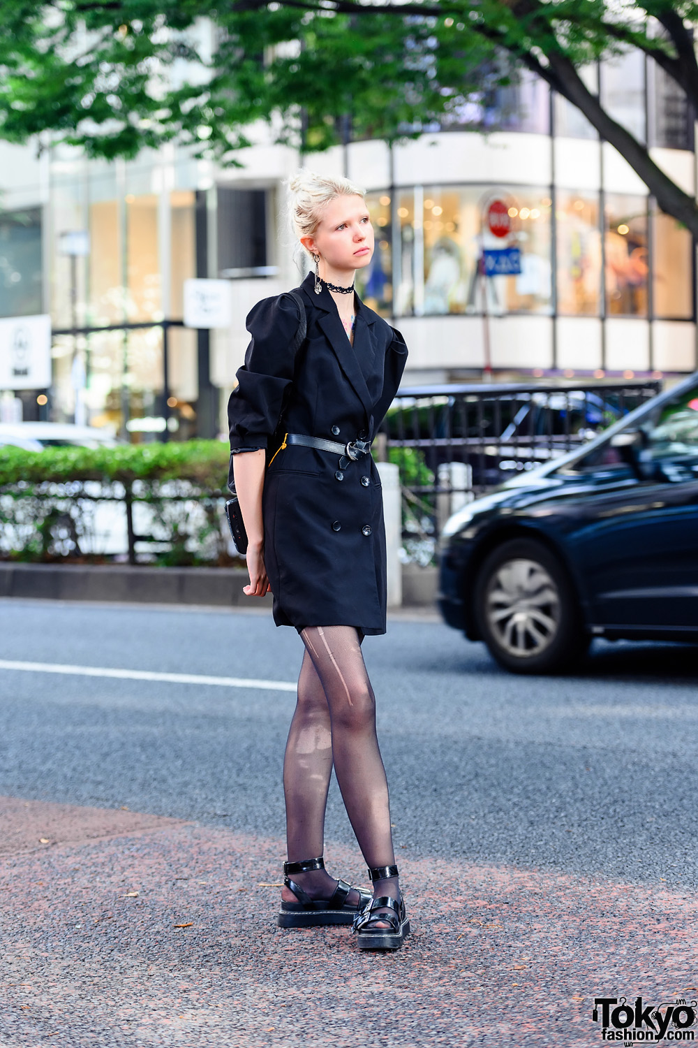 Tokyo Fashion Model's All Black Street Style w/ Tattoos, Double-Breasted Coat & Buckle Sandals