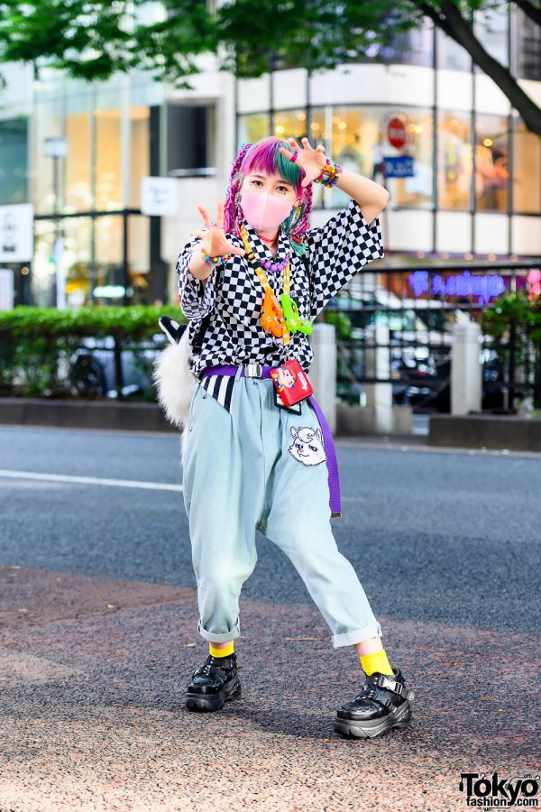 Harajuku Decora Girl in Rainbow Yarn Braids, Kinji, Milky Peco-chan Neck Wallet, Checkered Shirt, Listen Flavor Drop Crotch Jeans, Tiger Backpack, Yosuke USA & Handmade Accessories