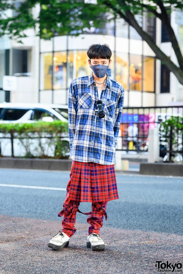 Anrealage Crew in Mixed Plaid Fashion w/ Resale Blue Plaid Shirt, 666 Red Plaid Pants w/ Skirt Detail, George Cox Creeper Shoes & N. Hoolywood Silver Accessories