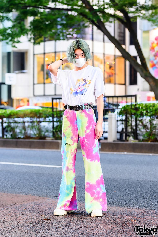 Harajuku Guy's Street Style w/ Wavy Green Bob, UNIQLO Sailor Moon Shirt, Mabataki Tie Dye Flared Pants & Forever21 Shoes