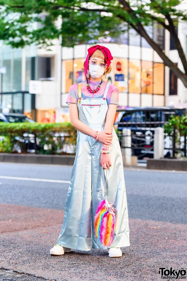 Japanese Teen Model in Tokyo w/ Red Hair Bow, Cat Eye Glasses, Scai Wide Leg Satin Overalls, 6%DokiDoki, Rainbow Clutch & Resale Fashion