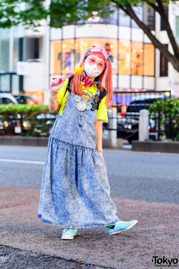 Pink-Haired Japanese Cartoonist in Tokyo w/ Animal Sleeping Masks, Duck Wand, San To Nibun No Ichi Denim Jumper Dress, Pin Badges, Backpack & Resale Sneakers