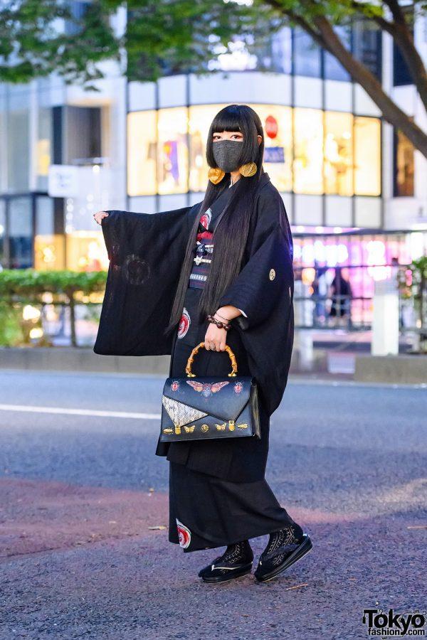Modern Japanese Kimono Streetwear Style w/  Lace Face Mask, Handmade Earrings, Gucci Bamboo Handle Bag & Geta/Zori Sandals
