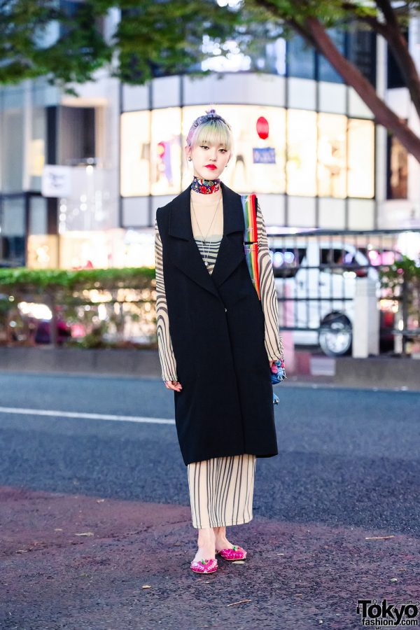 Japanese Designer w/ Fringed Pastel Bun, Long Knit Vest, Sheer Dress, Maison Promax Bag & Yello d'Orsay Flats