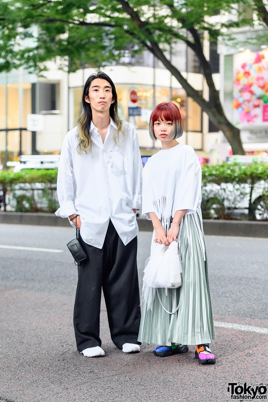 Japanese Film Directors in MSGM Fringe Top, Zara Pleated Skirt, MM6 Bag, Jil Sander Long Sleeves, Resale Wide Leg Pants & Nike Air Rift Shoes