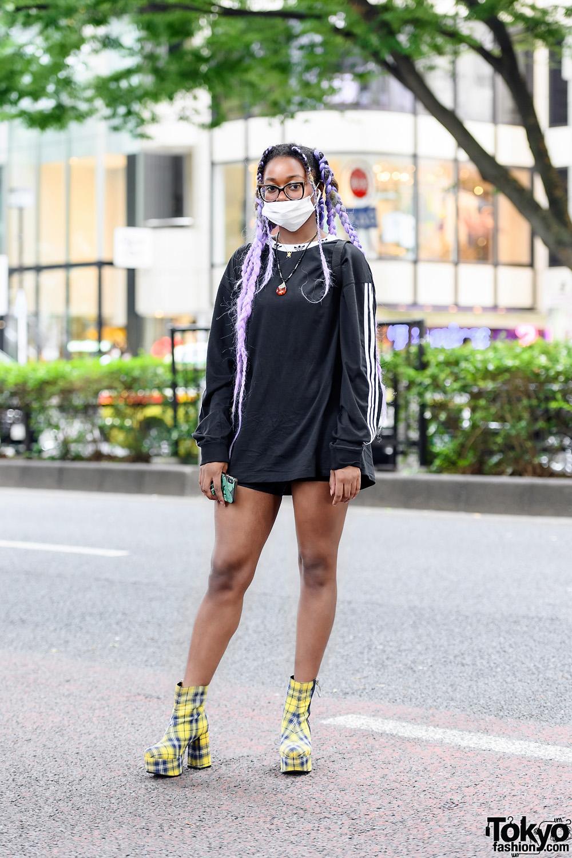 Sporty Street Style w/ Adidas Sweatshirt, Black Shorts, Dolls Kill Yellow Plaid Platform Boots, Adidas Mini Backpack & Layered Necklaces