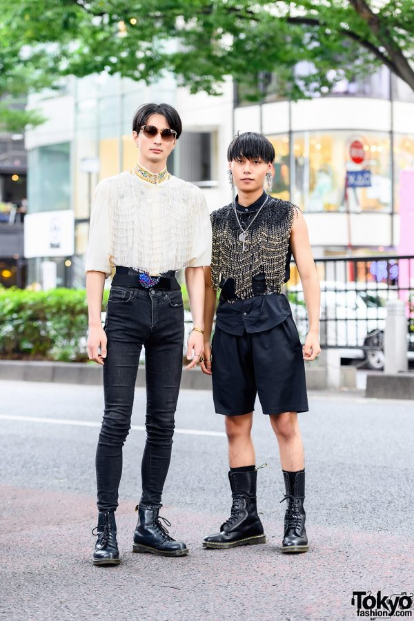 Tokyo Menswear Styles w/ Fringed Bead Tops, Dior Sunglasses, Toga Bead Earrings, Intricate Beaded Shirt, Fendi, Wide Belts & Dr. Martens Boots