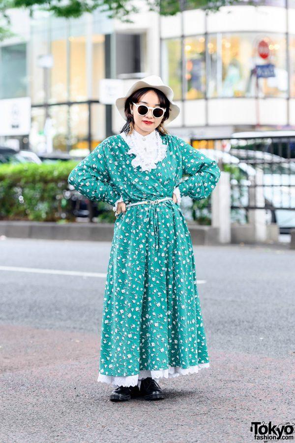 Harajuku Style w/ Floppy Hat, Sunglasses, GU Wraparound Maxi Dress & WEGO Lace-Up Shoes