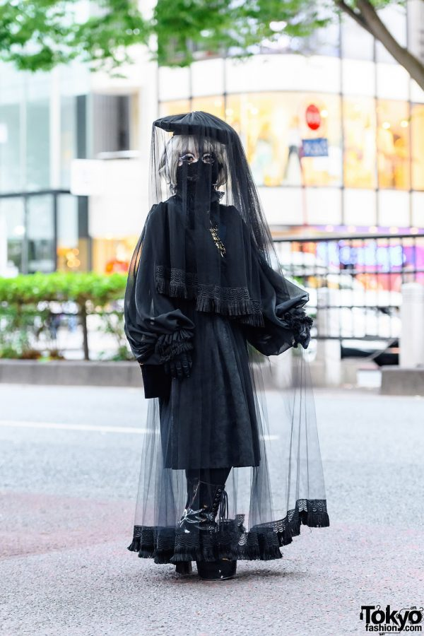 Japanese Shironuri Artist Minori in Dark Remake Harajuku Style w/  Black Lace Mask, Veiled Headdress, Brocade Dress & Platform Boots