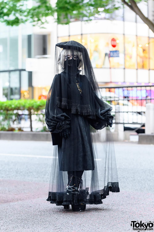 Japanese Shironuri Artist Minori in Dark Remake Harajuku Style w/  Black Lace Mask, Veiled Headdress, Brocade Dress & Platform Boots