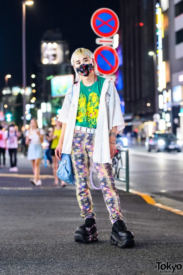 Vintage Harajuku Street Style w/ Blonde Mullet, Pikachu T-Shirt,  Floral Face Mask, Snakeskin Pants & Demonia Platforms