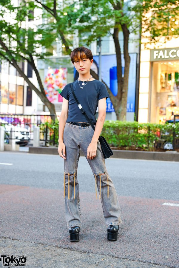 Harajuku Streetwear Style w/ Layered Necklaces, UNIF Cropped Shirt, Echo Club House Fringe Jeans, Suede Bag & Mom I Love Fashion Platform Boots