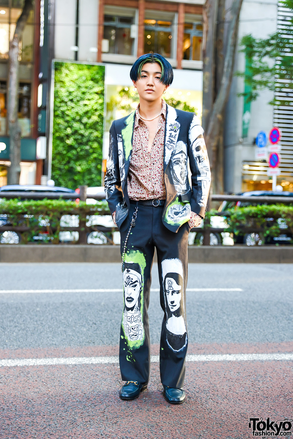 Remake Suit Style w/ Blue Green Hair, Pearl Necklace, Hand-Painted Suit, Vintage Floral Shirt & Leather Loafers