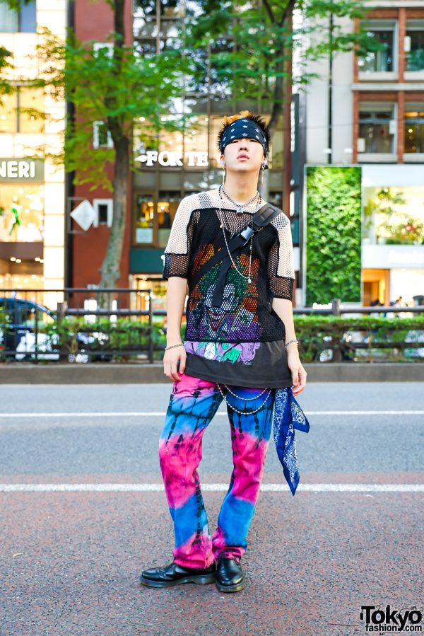 Fishnet and Tie Dye Street Style w/ Head Bandana, Blackmeans Fishnet Shirt, Levi's Tie Dye Jeans, Dr. Martens Shoes, Raf Simons Sling Bag, M.Y.O.B Arrow Earrings & Joegush Accessories