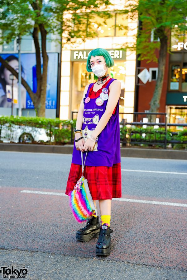 Japanese Teen Model in Tokyo w/ Green Bob, Red Plaid Dress, 6%DOKIDOKI Badges, San To Nibun No Ichi, Rainbow Clutch & Yosuke Platforms