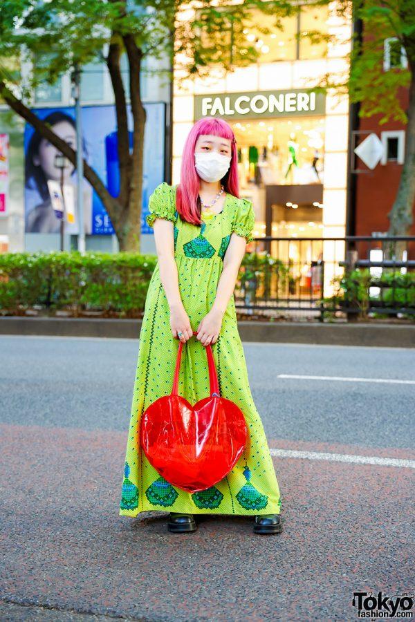 Kinji Harajuku Maxi Dress & Pink Hair w/ 6%DOKIDOKI Kawaii Necklace, See-Through Heart Bag & Punk Cake Lace-Up Shoes