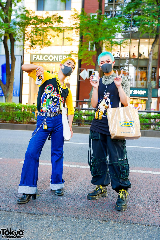 Harajuku Duo Street Styles w/ Yellow & Aqua Buzz Cuts, Bruce Lee Shirt, Queen Raglan Shirt, Vintage Fashion, Wrangler, Tripp NYC Strap Pants, IKEA Tote & Dr. Martens Boots
