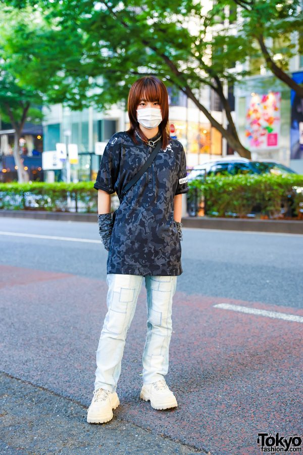 Camouflage and Jeans Harajuku Street Style w/ Resale Camo Shirt, Resale Patchwork Jeans, Eytys White Shoes, Resale Mont-Bell Sling Bag & Kobinai and Romantic Standard Accessories
