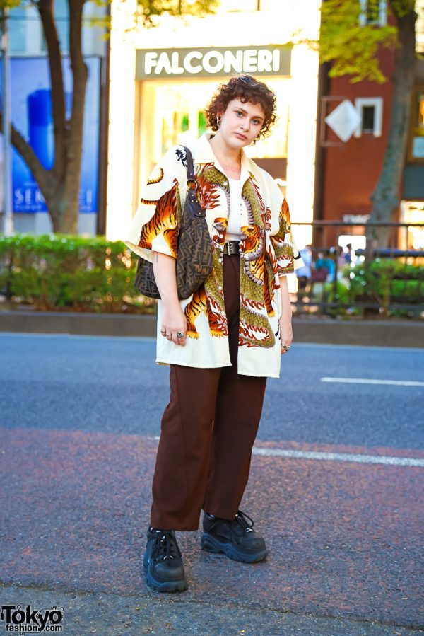 Tokyo Street Style in Hoop Over Gauged Ears, Dragon Print Shirt, Zara, Spinns, Vintage Fendi Bag & Buffalo Chunky Sneakers