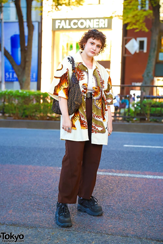 Tokyo Street Style in Hoop Over Gauged Ears, Dragon Print Shirt, Zara, Spinns, Vintage Fendi Bag & Buffalo Chunky Sneakers