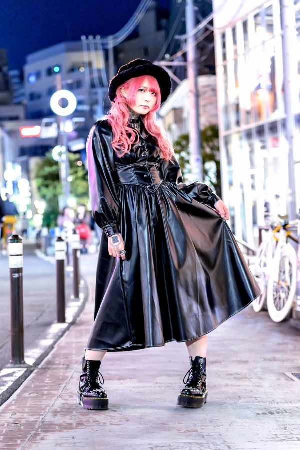 Faux Leather Dress in Harajuku, Tokyo Japan