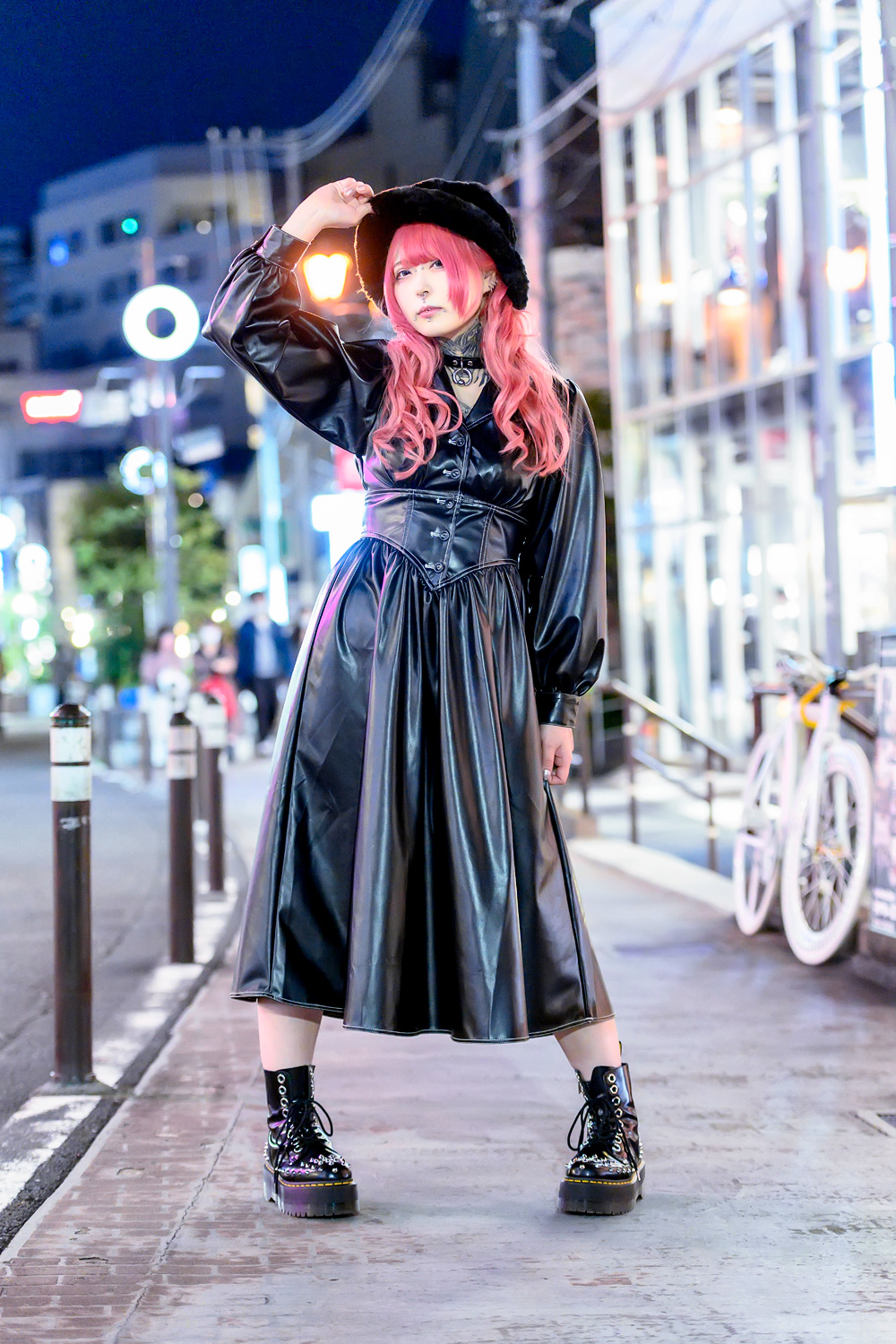 Pink Haired Harajuku Girl on Cat Street w/ Tattoos, Jouetie Leather Dress, Choker & Spiked Boots